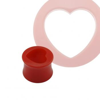 Acrylic Red Heart Double Flared Tunnel