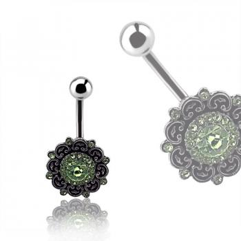 Steel Bauchnabelpiercing im blumigen Brass Design