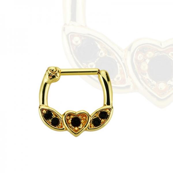 Brass Septum Clicker im Herz Design